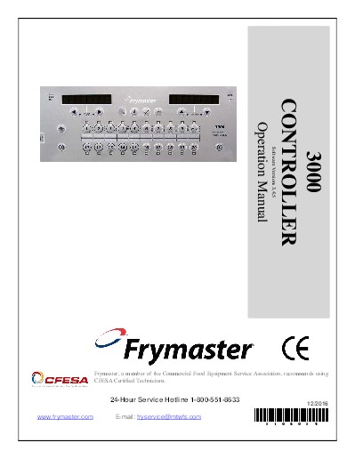 frymaster product 3000 version 3 controller operational manual