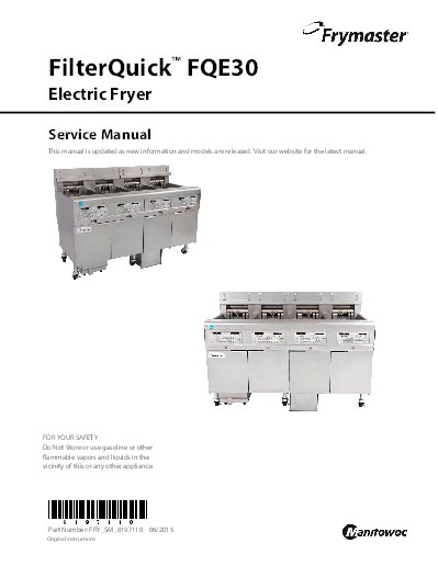 frymaster product filterquick electric service manual