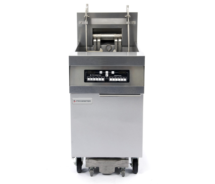 High Production RE Electric Fryers shown with optional computer and casters